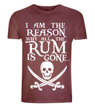 "EP01 Organic Combed Cotton Unisex dark red T-Shirt with the famous Calico Jack skull and crossed cutlas and the humorous Pirate quote ""I am the Reason why all the Rum is Gone"""