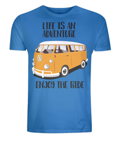 "EP01 Organic Eco Unisex bright blue T-Shirt contains the quote ""Life is an adventure. Enjoy the Ride"" and features a classic VW camper van in orange"