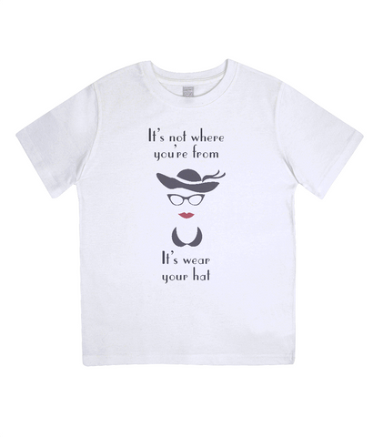 "EPJ01 ""It's not where you're from, it's wear your hat"" Organic Eco Children's T-shirt White"