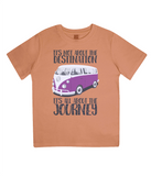 "EPJ01 Organic Combed Cotton Children's T-Shirt in Orange, contains the quote  ""It's not about the destination. It's all about the Journey"""