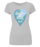 "EP04 Organic and Eco Women's T-Shirt in a light grey slim-fit style, features a watercolour ocean wave and the quote ""Love You to the beach and back"" enclosed in a heart"