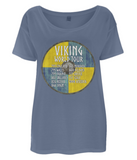 "EP46 This beautiful Organic Eco Women's Oversized Viking T-Shirt in denim blue contains quote set on a Viking shield  ""Viking World Tour"""