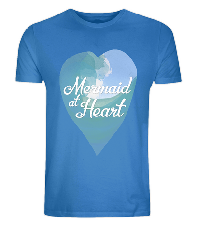 "EP01 Eco and Organic unisex bright blue T-Shirt with a watercolour ocean wave and the quote ""Mermaid at Heart"" enclosed a heart"