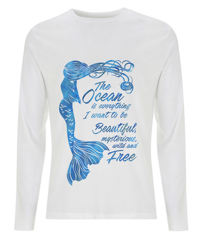 Organic Eco Men's Long Sleeve Mermaid T-Shirt - The Ocean is Everything