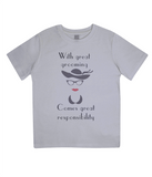 "EPJ01 ""With great grooming comes great responsibility"" Organic Eco Children's T-Shirt Melange Grey"