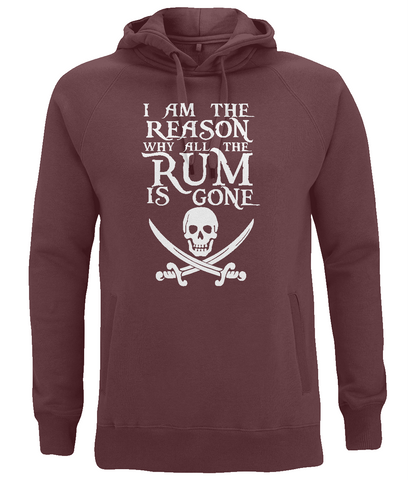 "EP60P Organic Combed Cotton Unisex Claret Red Hoodie features the famous Calico Jack skull and crossed cutlasses along with the humorous Pirate quote ""I am the Reason why all the Rum is Gone"""