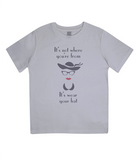 "EPJ01 ""It's not where you're from, it's wear your hat"" Organic Eco Children's T-shirt Melange Grey"