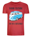 "EP01 Eco Organic Unisex red T-Shirt with the quote ""Think Outside. No Box Required"" and features a classic VW camper van in turquoise."