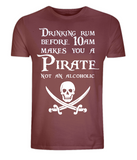 "EP01 Organic Combed Cotton Unisex dark red T-Shirt features a skull and crossed cutlasses the Pirate quote ""Drinking Rum before 10am makes you a Pirate not an Alcoholic"""