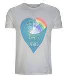 "EP01 Eco and Organic unisex light grey T-Shirt features a watercolour heart including an ocean wave and a rainbow, and the inspirational quote ""One world, One Life, Live in Peace"""