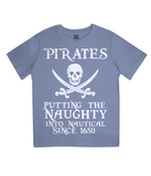"EPJ01 Organic Combed Cotton Children's T-Shirt in Faded Denim contains the quote  ""Pirates - putting the naughty into nautical since 1650"""