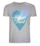 "EP01 Eco and Organic unisex melange grey T-Shirt with a watercolour ocean wave and the quote ""Mermaid at Heart"" enclosed a heart"
