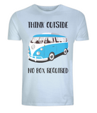 "EP01 Eco Organic Unisex light blue T-Shirt with the quote ""Think Outside. No Box Required"" and features a classic VW camper van in turquoise."