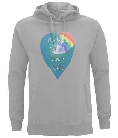 "EP60P Eco and Organic unisex Melange Grey Hoodie features a watercolour heart including an ocean wave and a rainbow, and the inspirational quote ""One world, One Life, Live in Peace"""