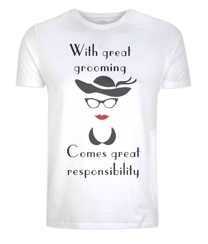 "EP01 This Organic Eco white T-shirt features quote ""With great grooming comes great responsibility"" and a hat, glasses and red lips"