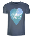 "EP01 Eco and Organic unisex denim blue T-Shirt with a watercolour ocean wave and the quote ""Mermaid at Heart"" enclosed a heart"