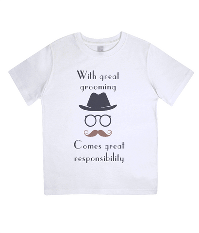 "EPJ01 ""With great grooming comes great responsibility"" :o) This soft Organic Eco Children's T-shirt White"