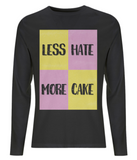 "EP01L Eco and Organic Mens long sleeve black T-Shirt contains the quote ""Less Hate, More Cake"" and features the image of a Battenberg cake"