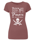 "EP04 Organic, Eco, Women's Slim Fit, dark red pirate T-Shirt with the humorous Pirate quote ""Drinking Rum before 10am make you a Pirate Not an Alcoholic"""