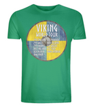 "EP01 Organic Cotton Eco T-Shirt in green, contains quote ""Viking World Tour"" and is set on a blue and yellow Viking shield"