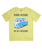 "EPJ01 Organic Combed Cotton Children's T-Shirt in Yellow, contains the quote  ""Think Outside, No Box Required"""