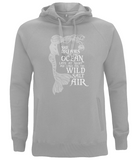 "EP60P Organic and Eco Combed Cotton Unisex Melange Grey Hoodie contains the emotive and mermaid inspired quote ""She Dreams of the Ocean late at night and Longs for the Wild Salt Air"""