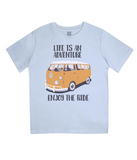 "EPJ01 Organic Combed Cotton Children's T-Shirt in Light Blue, contains the quote  ""Life is an adventure. Enjoy the Ride"""