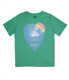 "EPJ01 Organic Combed Cotton Children's T-Shirt in Green, contains the quote  ""One World, One life, Live in Peace"""