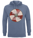 "EP60P Organic Combed Cotton Unisex Viking Hoodie in faded denim with quote set on a Viking shield  ""You Call Me Heathen - As If That Were a Bad Thing"""