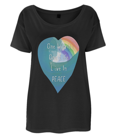 "EP46 Eco and Organic Women's Oversized black T-Shirt featuring a watercolour heart with an ocean wave and a rainbow, and the inspirational quote ""One world, One Life, Live in Peace""."