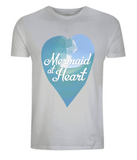"EP01 Eco and Organic unisex light grey T-Shirt with a watercolour ocean wave and the quote ""Mermaid at Heart"" enclosed a heart"