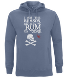 "EP60P Organic Combed Cotton Unisex Faded Denim Hoodie contains the humorous Pirate quote ""I am the Reason why all the Rum is Gone"" and includes Captain Jack Sparrow's Flag"