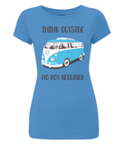 "EP04 Organic and Eco Women's Slim-Fit bright blue T-Shirt contains the thoughtful quote ""Think Outside, No Box Required"" and features a classic VW camper van in turquoise blue."