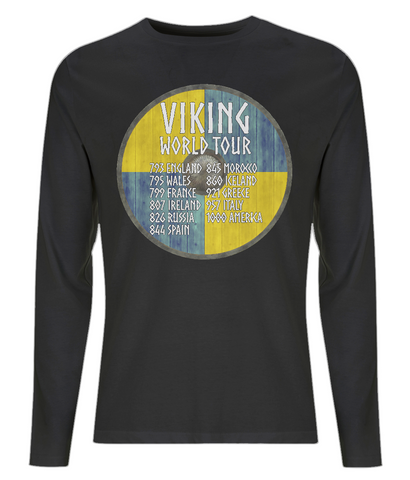 "EP01L Organic Eco Men's Long Sleeve black Viking T-Shirt ""World Tour"""