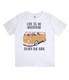 "EPJ01 Organic Combed Cotton Children's T-Shirt in White, contains the quote  ""Life is an adventure. Enjoy the Ride"""