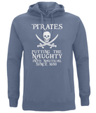 "EP60P Organic Combed Cotton Unisex Faded Denim Hoodie with the humorous Pirate quote ""Pirates - Putting the Naughty into Nautical since 1650"""