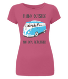 "EP04 Organic and Eco Women's Slim-Fit hot pink T-Shirt contains the thoughtful quote ""Think Outside, No Box Required"" and features a classic VW camper van in turquoise blue."