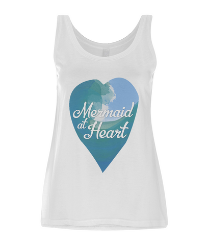 "EP44 Eco and Organic Women's Tencel Blend Vest features a watercolour ocean wave and the quote ""Mermaid at Heart"" enclosed together in a heart"