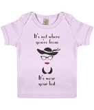 "EPB01 ""It's not where you're from, it's wear your hat"" Organic Eco Baby T-shirt in Powder Pink"