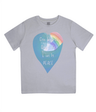 "EPJ01 Organic Combed Cotton Children's T-Shirt in Melange Grey, contains the quote  ""One World, One life, Live in Peace"""