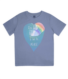 "EPJ01 Organic Combed Cotton Children's T-Shirt in Faded Denim, contains the quote  ""One World, One life, Live in Peace"""