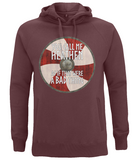 "EP60P Organic Combed Cotton Unisex Viking Hoodie in claret red with quote set on a Viking shield  ""You Call Me Heathen - As If That Were a Bad Thing"""