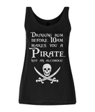"EP44 Organic Eco Women's Tencel Blend Pirate Vest contains the Pirate quote  ""Drinking Rum before 10am make you a Pirate Not an Alcoholic"""