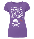 "EP04 Organic Eco Women's Slim Fit pirate T-Shirt in purple with the humorous Pirate quote ""I am the Reason why all the Rum is Gone"" and includes Captain Jack Sparrow's Flag"