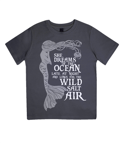 "EPJ01 Organic Combed Cotton Children's T-Shirt in Black, contains the quote  ""She Dreams of the Ocean late at night and Longs for the Wild Salt Air"" and has an image of a mermaid"