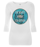"EP07 Organic Combed Cotton Women's 3/4 Sleeve white T-Shirt contains an emotive quote set on a Viking shield ""Live Bravely - Do Right - Fear Nothing"""
