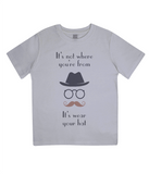 "EPJ01 ""It's not where you're from, it's wear your hat"" Organic Children's T-shirt Melange Grey"