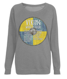"EP66 Organic Combed Cotton, Dark Heather Raglan Sweatshirt contains an amusing quote set on a Viking shield ""Viking World Tour"""