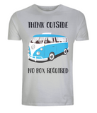 "EP01 Eco Organic Unisex light grey T-Shirt with the quote ""Think Outside. No Box Required"" and features a classic VW camper van in turquoise."