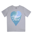 "EPJ01 Organic Combed Cotton Children's T-Shirt in Melange Grey, contains the quote  ""Mermaid at Heart"""